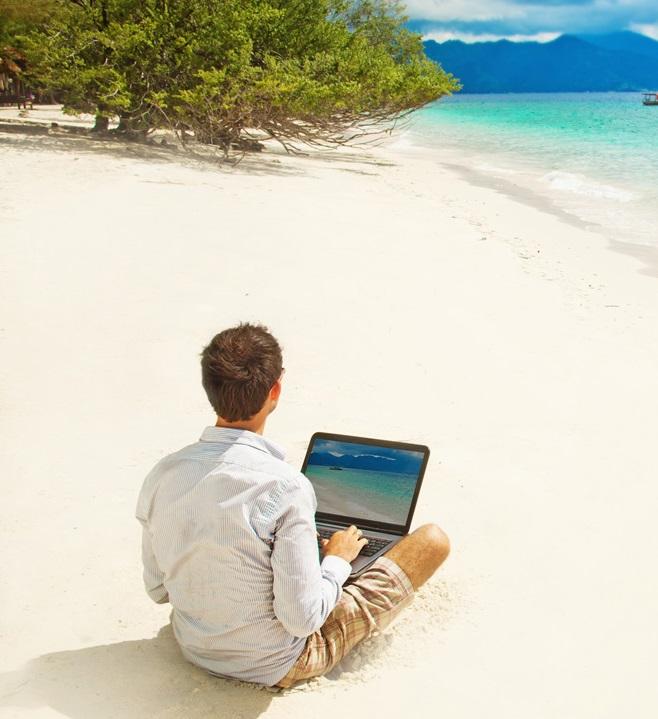 werken op een eiland
